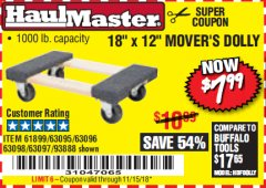"Harbor Freight Coupon 18"" X 12"" HARDWOOD MOVER'S DOLLY Lot No. 93888/60497/61899/62399/63095/63096/63097/63098 Expired: 11/15/18 - $7.99"