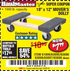 "Harbor Freight Coupon 18"" X 12"" HARDWOOD MOVER'S DOLLY Lot No. 93888/60497/61899/62399/63095/63096/63097/63098 Expired: 10/26/18 - $7.99"