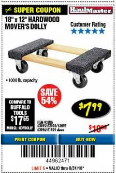 "Harbor Freight Coupon 18"" X 12"" HARDWOOD MOVER'S DOLLY Lot No. 93888/60497/61899/62399/63095/63096/63097/63098 Expired: 8/31/18 - $7.99"