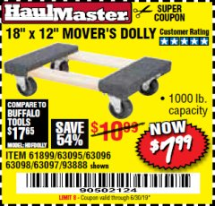 "Harbor Freight Coupon 18"" X 12"" HARDWOOD MOVER'S DOLLY Lot No. 93888/60497/61899/62399/63095/63096/63097/63098 Expired: 6/30/19 - $7.99"