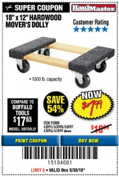 "Harbor Freight Coupon 18"" X 12"" HARDWOOD MOVER'S DOLLY Lot No. 93888/60497/61899/62399/63095/63096/63097/63098 Expired: 9/30/18 - $7.99"