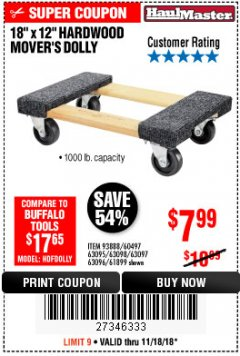 "Harbor Freight Coupon 18"" X 12"" HARDWOOD MOVER'S DOLLY Lot No. 93888/60497/61899/62399/63095/63096/63097/63098 Expired: 11/18/18 - $7.99"