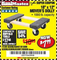 "Harbor Freight Coupon 18"" X 12"" HARDWOOD MOVER'S DOLLY Lot No. 93888/60497/61899/62399/63095/63096/63097/63098 Expired: 4/1/19 - $7.99"