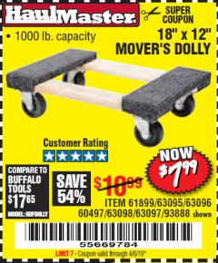 "Harbor Freight Coupon 18"" X 12"" HARDWOOD MOVER'S DOLLY Lot No. 93888/60497/61899/62399/63095/63096/63097/63098 Expired: 4/6/19 - $7.99"