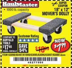 "Harbor Freight Coupon 18"" X 12"" HARDWOOD MOVER'S DOLLY Lot No. 93888/60497/61899/62399/63095/63096/63097/63098 Expired: 5/4/19 - $7.99"