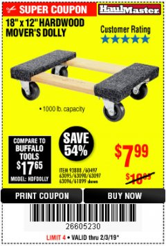 "Harbor Freight Coupon 18"" X 12"" HARDWOOD MOVER'S DOLLY Lot No. 93888/60497/61899/62399/63095/63096/63097/63098 Expired: 2/3/19 - $7.99"