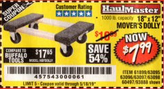 "Harbor Freight Coupon 18"" X 12"" HARDWOOD MOVER'S DOLLY Lot No. 93888/60497/61899/62399/63095/63096/63097/63098 Expired: 5/18/19 - $7.99"