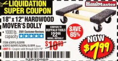 "Harbor Freight Coupon 18"" X 12"" HARDWOOD MOVER'S DOLLY Lot No. 93888/60497/61899/62399/63095/63096/63097/63098 Expired: 5/31/19 - $7.99"