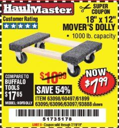 "Harbor Freight Coupon 18"" X 12"" HARDWOOD MOVER'S DOLLY Lot No. 93888/60497/61899/62399/63095/63096/63097/63098 Expired: 7/19/19 - $7.99"