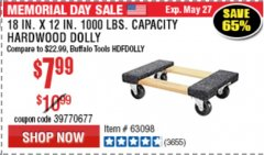 "Harbor Freight Coupon 18"" X 12"" HARDWOOD MOVER'S DOLLY Lot No. 93888/60497/61899/62399/63095/63096/63097/63098 Expired: 5/27/19 - $7.99"