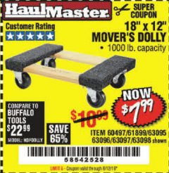 "Harbor Freight Coupon 18"" X 12"" HARDWOOD MOVER'S DOLLY Lot No. 93888/60497/61899/62399/63095/63096/63097/63098 Expired: 8/12/19 - $7.99"