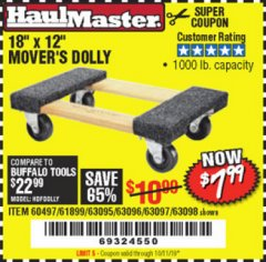 "Harbor Freight Coupon 18"" X 12"" HARDWOOD MOVER'S DOLLY Lot No. 93888/60497/61899/62399/63095/63096/63097/63098 Expired: 10/11/19 - $7.99"