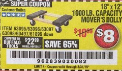 "Harbor Freight Coupon 18"" X 12"" HARDWOOD MOVER'S DOLLY Lot No. 93888/60497/61899/62399/63095/63096/63097/63098 Expired: 8/31/19 - $8"