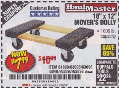 "Harbor Freight Coupon 18"" X 12"" HARDWOOD MOVER'S DOLLY Lot No. 93888/60497/61899/62399/63095/63096/63097/63098 Expired: 11/28/19 - $7.99"