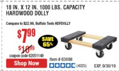 "Harbor Freight Coupon 18"" X 12"" HARDWOOD MOVER'S DOLLY Lot No. 93888/60497/61899/62399/63095/63096/63097/63098 Expired: 9/30/19 - $7.99"