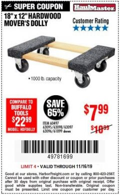 "Harbor Freight Coupon 18"" X 12"" HARDWOOD MOVER'S DOLLY Lot No. 93888/60497/61899/62399/63095/63096/63097/63098 Expired: 11/16/19 - $7.99"