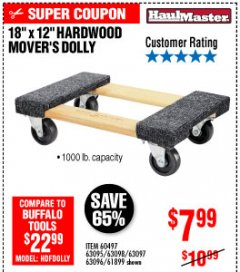 "Harbor Freight Coupon 18"" X 12"" HARDWOOD MOVER'S DOLLY Lot No. 93888/60497/61899/62399/63095/63096/63097/63098 Expired: 10/4/19 - $7.99"