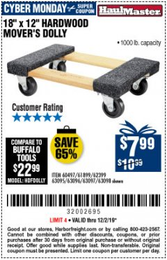 "Harbor Freight Coupon 18"" X 12"" HARDWOOD MOVER'S DOLLY Lot No. 93888/60497/61899/62399/63095/63096/63097/63098 Expired: 12/1/19 - $7.99"