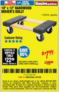 "Harbor Freight Coupon 18"" X 12"" HARDWOOD MOVER'S DOLLY Lot No. 93888/60497/61899/62399/63095/63096/63097/63098 Expired: 1/31/20 - $7.99"