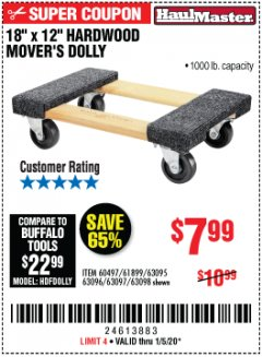 "Harbor Freight Coupon 18"" X 12"" HARDWOOD MOVER'S DOLLY Lot No. 93888/60497/61899/62399/63095/63096/63097/63098 Expired: 1/5/20 - $7.99"