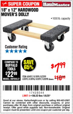"Harbor Freight Coupon 18"" X 12"" HARDWOOD MOVER'S DOLLY Lot No. 93888/60497/61899/62399/63095/63096/63097/63098 Expired: 1/6/20 - $7.99"