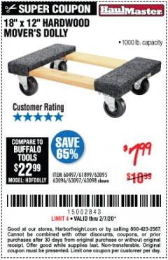 "Harbor Freight Coupon 18"" X 12"" HARDWOOD MOVER'S DOLLY Lot No. 93888/60497/61899/62399/63095/63096/63097/63098 Expired: 2/7/20 - $7.99"