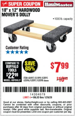 "Harbor Freight Coupon 18"" X 12"" HARDWOOD MOVER'S DOLLY Lot No. 93888/60497/61899/62399/63095/63096/63097/63098 Expired: 1/26/20 - $7.99"