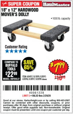 "Harbor Freight Coupon 18"" X 12"" HARDWOOD MOVER'S DOLLY Lot No. 93888/60497/61899/62399/63095/63096/63097/63098 Expired: 2/29/20 - $7.99"