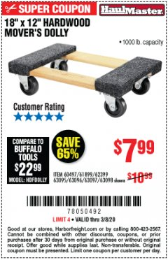 "Harbor Freight Coupon 18"" X 12"" HARDWOOD MOVER'S DOLLY Lot No. 93888/60497/61899/62399/63095/63096/63097/63098 Expired: 3/8/20 - $7.99"