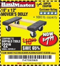 "Harbor Freight Coupon 18"" X 12"" HARDWOOD MOVER'S DOLLY Lot No. 93888/60497/61899/62399/63095/63096/63097/63098 Expired: 6/28/20 - $7.99"