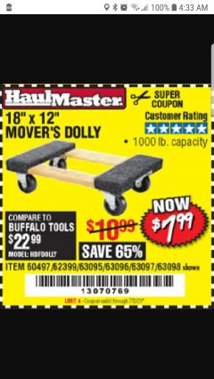 "Harbor Freight Coupon 18"" X 12"" HARDWOOD MOVER'S DOLLY Lot No. 93888/60497/61899/62399/63095/63096/63097/63098 Expired: 7/2/20 - $7.99"