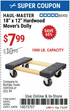 "Harbor Freight Coupon 18"" X 12"" HARDWOOD MOVER'S DOLLY Lot No. 93888/60497/61899/62399/63095/63096/63097/63098 Expired: 7/5/20 - $7.99"