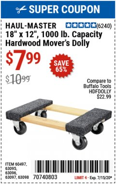 "Harbor Freight Coupon 18"" X 12"" HARDWOOD MOVER'S DOLLY Lot No. 93888/60497/61899/62399/63095/63096/63097/63098 Expired: 7/15/20 - $7.99"