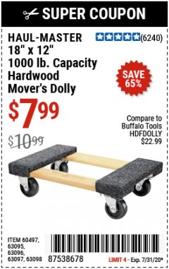 "Harbor Freight Coupon 18"" X 12"" HARDWOOD MOVER'S DOLLY Lot No. 93888/60497/61899/62399/63095/63096/63097/63098 Expired: 7/31/20 - $7.99"