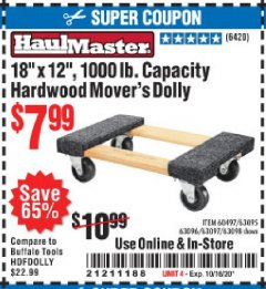 "Harbor Freight Coupon 18"" X 12"" HARDWOOD MOVER'S DOLLY Lot No. 93888/60497/61899/62399/63095/63096/63097/63098 Expired: 10/16/20 - $7.99"