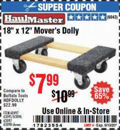 "Harbor Freight Coupon 18"" X 12"" HARDWOOD MOVER'S DOLLY Lot No. 93888/60497/61899/62399/63095/63096/63097/63098 Expired: 9/13/20 - $7.99"