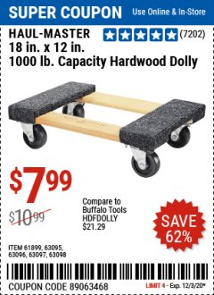 "Harbor Freight Coupon 18"" X 12"" HARDWOOD MOVER'S DOLLY Lot No. 93888/60497/61899/62399/63095/63096/63097/63098 Expired: 12/3/20 - $7.99"