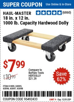 "Harbor Freight Coupon 18"" X 12"" HARDWOOD MOVER'S DOLLY Lot No. 93888/60497/61899/62399/63095/63096/63097/63098 Expired: 12/31/20 - $7.99"