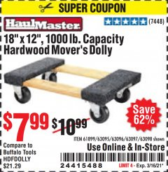 "Harbor Freight Coupon 18"" X 12"" HARDWOOD MOVER'S DOLLY Lot No. 93888/60497/61899/62399/63095/63096/63097/63098 Valid: 2/16/21 - 3/16/21 - $7.99"