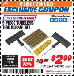 Harbor Freight ITC Coupon 9 PIECE TUBELESS TIRE REPAIR KIT Lot No. 45183 Expired: 12/31/19 - $2.99
