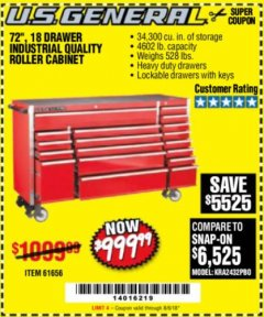 "Harbor Freight Coupon 72"" X 22"" TRIPLE BANK EXTRA DEEP CABINET Lot No. 61656/64167/64003/64004 Expired: 8/6/18 - $999.99"