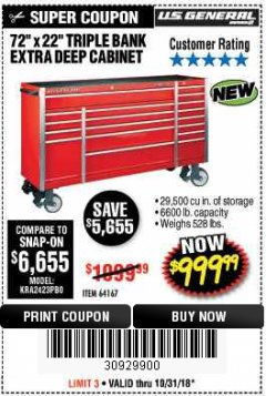 "Harbor Freight Coupon 72"" X 22"" TRIPLE BANK EXTRA DEEP CABINET Lot No. 61656/64167/64003/64004 Expired: 10/31/18 - $999.99"