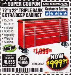 "Harbor Freight Coupon 72"" X 22"" TRIPLE BANK EXTRA DEEP CABINET Lot No. 61656/64167/64003/64004 Expired: 11/30/18 - $999.99"