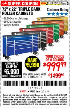 "Harbor Freight Coupon 72"" X 22"" TRIPLE BANK EXTRA DEEP CABINET Lot No. 61656/64167/64003/64004 Expired: 12/31/19 - $999"
