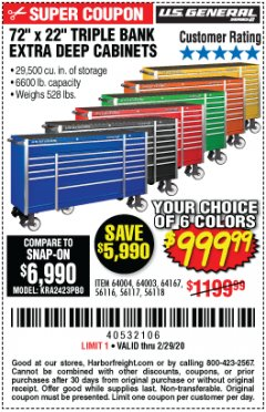 "Harbor Freight Coupon 72"" X 22"" TRIPLE BANK EXTRA DEEP CABINET Lot No. 61656/64167/64003/64004 Expired: 2/29/20 - $999.99"