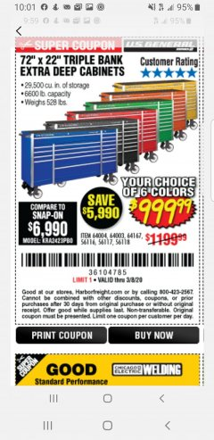 "Harbor Freight Coupon 72"" X 22"" TRIPLE BANK EXTRA DEEP CABINET Lot No. 61656/64167/64003/64004 Expired: 2/8/20 - $999.99"
