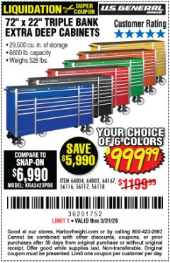 "Harbor Freight Coupon 72"" X 22"" TRIPLE BANK EXTRA DEEP CABINET Lot No. 61656/64167/64003/64004 Expired: 3/31/20 - $999.99"