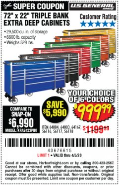 "Harbor Freight Coupon 72"" X 22"" TRIPLE BANK EXTRA DEEP CABINET Lot No. 61656/64167/64003/64004 Expired: 6/30/20 - $999.99"