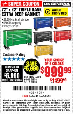 "Harbor Freight Coupon 72"" X 22"" TRIPLE BANK EXTRA DEEP CABINET Lot No. 61656/64167/64003/64004 Expired: 3/29/20 - $999.99"