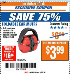 Harbor Freight ITC Coupon EAR MUFFS Lot No. 94334 Expired: 5/22/18 - $3.99